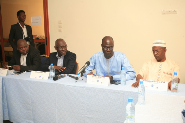 (De gauche à droite) Ibrahima K. Ndiaye (Synpics), Hamadou T. Sy, Assane Diagne et Mamadou I. Kane (Cdeps)