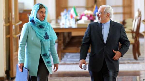 Federica Mogherini et Javad Zaif, les chefs des diplomaties de l'UE et de l'Iran