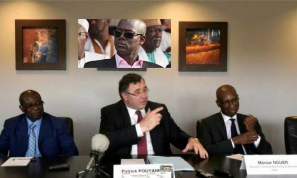 Patrick Pouyanné (PDG Total), Momar Nguer. En médaillon, Thierno Alassane Sall, ex ministre de l'Energie (photo Senenews)