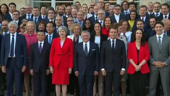 Emmanuel Macron et la 1ère ministre de Nouvelle Zélande Jacinda Ardern