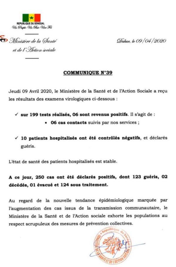 Coronavirus/Sénégal: 6 cas contacts contaminés