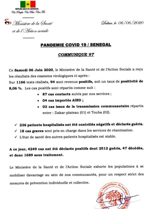 Coronavirus/Sénégal: 94 nouvelles contaminations dont 4 cas importés AIBD