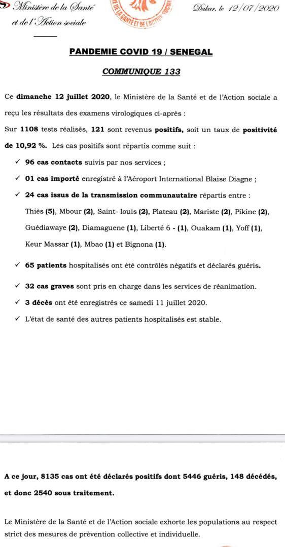 Coronavirus/Sénégal: 121 nouvelles contaminations, 3 nouveaux décès samedi