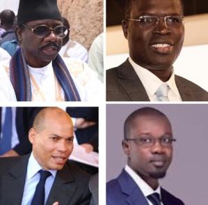 Moustapha Sy (PUR), Karim Wade (PDS), Ousmane Sonko (Pastef) et Khalifa Sall (Taxawu Senegaal)