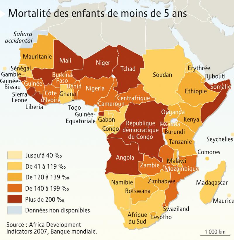 Carte des mortalités infantiles en Afrique