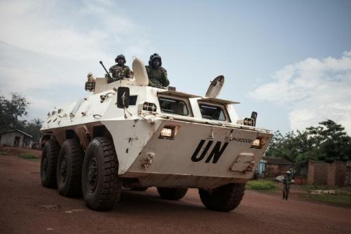 Des forces de l'ONU en patrouille à Bangui