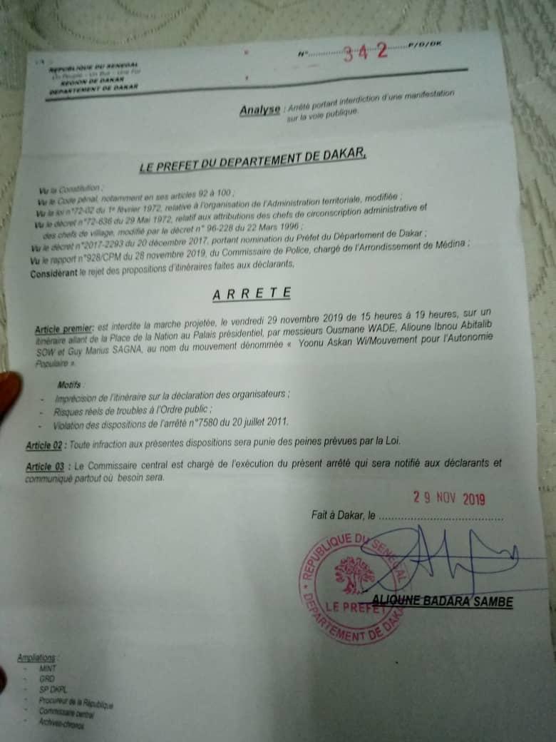 CHRONIQUE - Arrestation de Guy Marius : L'arrêté d'interdiction du Préfet de Dakar est illégal et encourt l'annulation