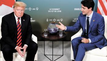 Le premier ministre canadien Justin Trudeau en compagnie du Président Donald Trump