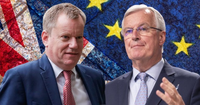 David Frost (à gauche) et Michel Barnier