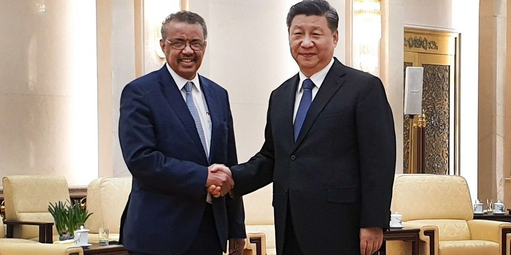 Le DG de l'OMS (g) et le président chinois