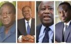 Bédié, Ouattara, Gbagbo et Soro (g. a d.)